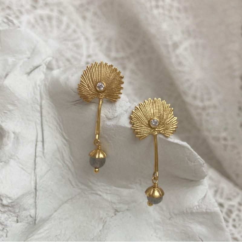 Peahen Earrings | Gold